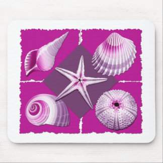 Collage of Seashells Hot Pink & Purple Mouse Pad