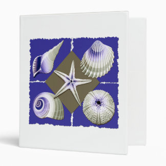 Collage of Seashells Purple and Olive Green Binder