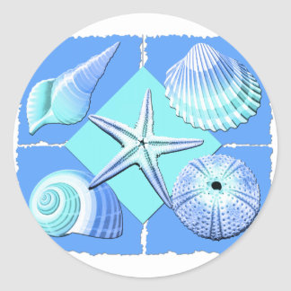 Collage of Seashells Shades of Blue Classic Round Sticker
