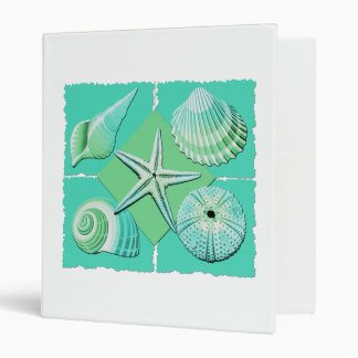 Collage of Seashells Shades of Blue Green 3 Ring Binder