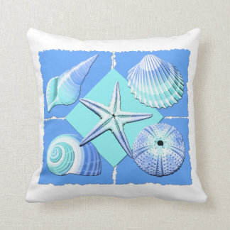 Collage of Seashells Shades of Blue Throw Pillow
