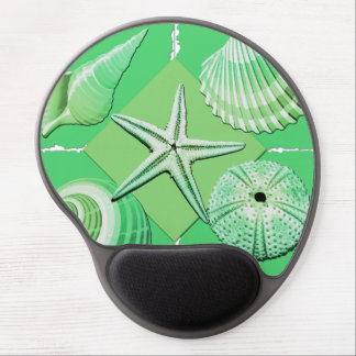 Collage of Seashells Shades of Green Gel Mouse Pad