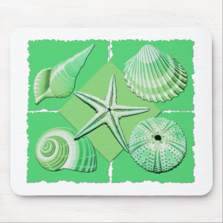 Collage of Seashells Shades of Green Mouse Pad