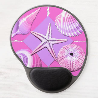 Collage of Seashells Shades of Pink Gel Mouse Pad