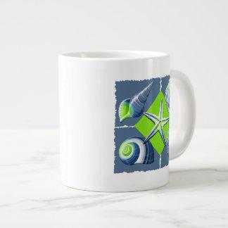 Collage of Seashells Slate Blue & Lime Green Giant Coffee Mug