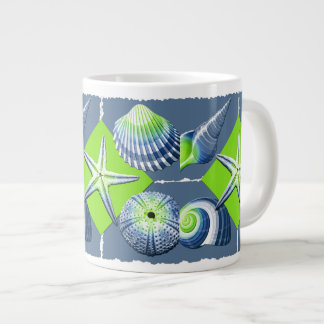 Collage of Seashells Slate Blue & Lime Green Large Coffee Mug
