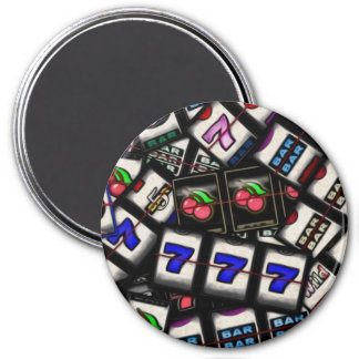 Collage of Slot Machine Reels 3 Inch Round Magnet