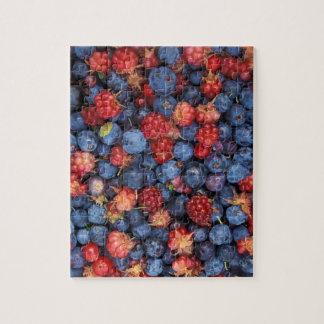 Collage of Wild Berries Blueberries Raspberries Puzzle