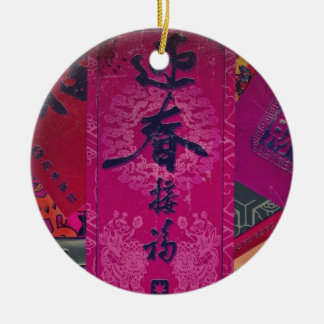 Collage oriental adorno navideño redondo de cerámica