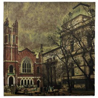 Collage oscuro de la foto de la ciudad servilletas imprimidas