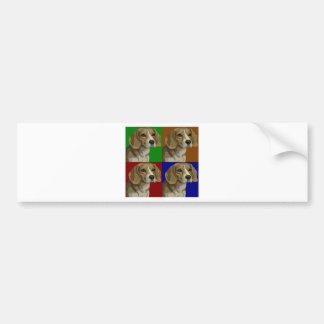 Collage oscuro del color primario del beagle pegatina para auto