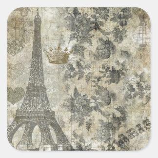 Collage parisiense gris pegatina cuadrada