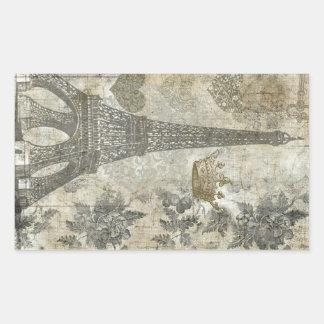 Collage parisiense gris pegatina rectangular