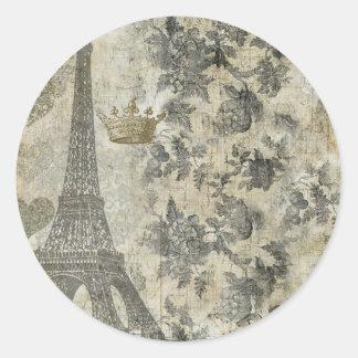 Collage parisiense gris pegatina redonda