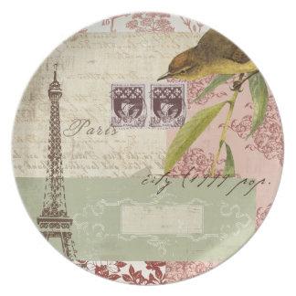 Collage parisiense para el arreglo para requisitos platos de comidas