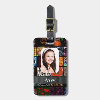 Collage pattern photo template bag tag