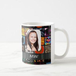 Collage pattern photo template coffee mug