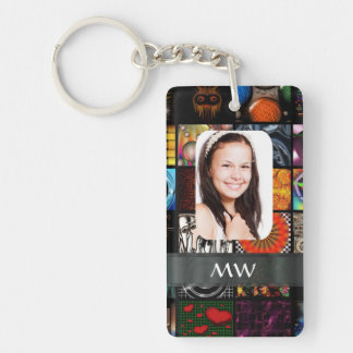 Collage pattern photo template rectangle acrylic key chains