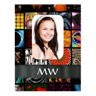 Collage pattern photo template postcard