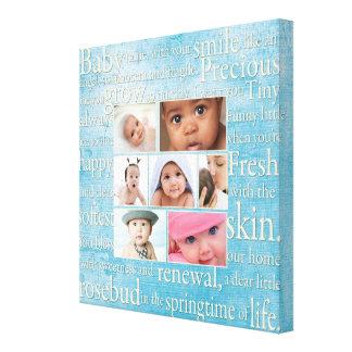 Collage personalizado de la foto del bebé impresión en lona