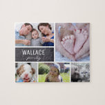 "Collage photos with family name, 5 pictures jigsaw puzzle<br><div class=""desc"">Customize this puzzle with their family photos as a fun gift. Change all the photos and family name. *Please don"