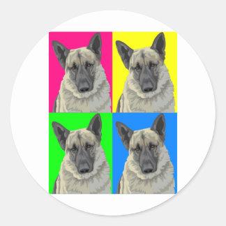 Collage primario brillante del pastor alemán pegatina redonda