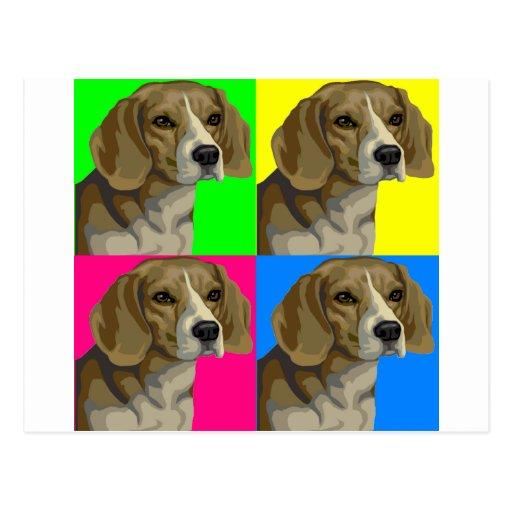 Collage primario brillante ligero del beagle tarjetas postales