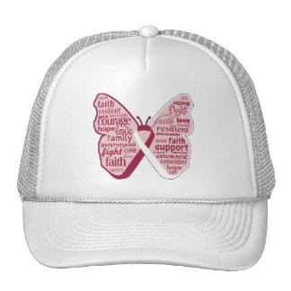 Collage principal de la mariposa del cáncer del cu gorras de camionero