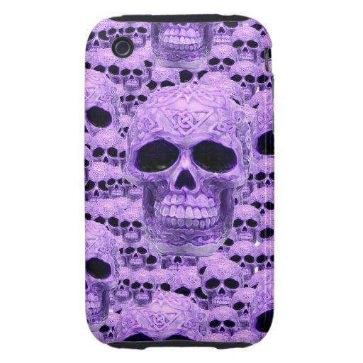Collage púrpura céltico del cráneo iPhone 3 tough cárcasa
