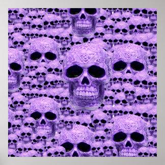 Collage púrpura céltico del cráneo impresiones