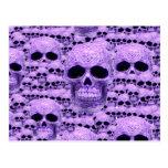 Collage púrpura céltico del cráneo postales