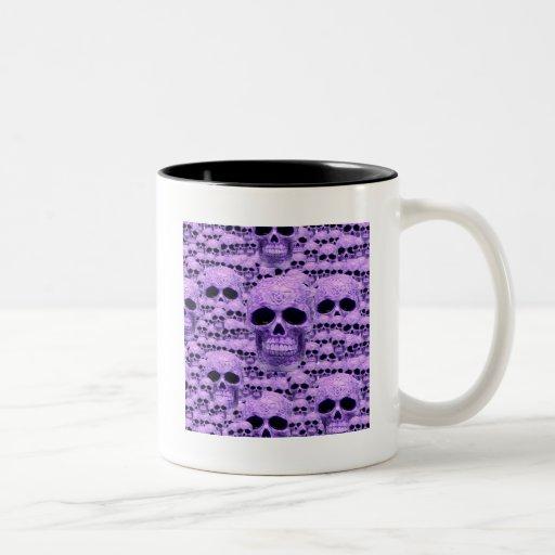 Collage púrpura céltico del cráneo tazas de café