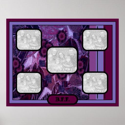 Collage púrpura de la hoja - BFF Poster