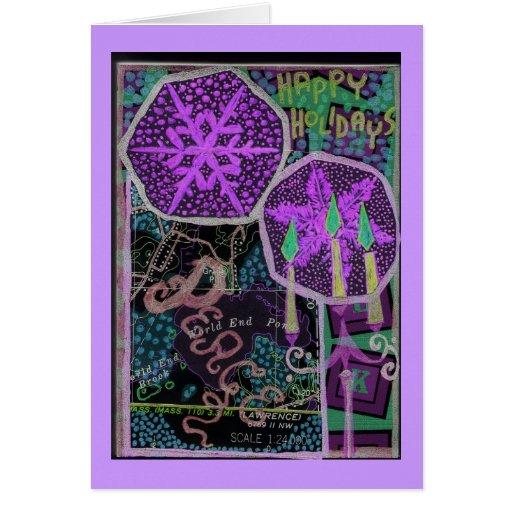 Collage púrpura de la paz tarjeta de felicitación