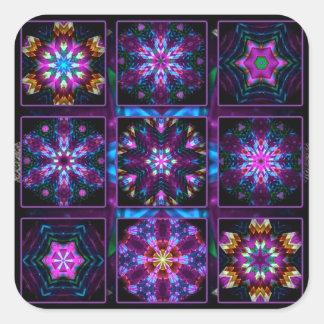 Collage púrpura del fractal pegatina cuadrada