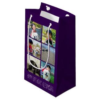 Collage púrpura personalizado de la imagen del bolsa de regalo pequeña