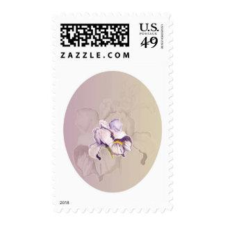 Collage púrpura pintado del iris sellos