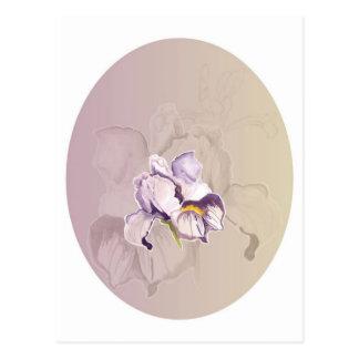 Collage púrpura pintado del iris tarjetas postales