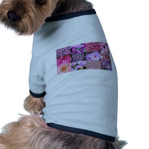 Collage púrpura/rosado de la foto camiseta con mangas para perro