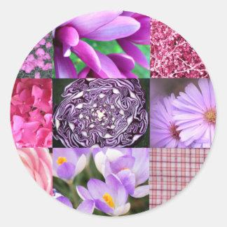 Collage púrpura/rosado de la foto pegatina redonda
