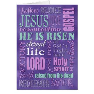 Collage, púrpura y azul cristianos de la palabra tarjeta de felicitación