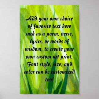 Collage rasgado del papel seda de la hierba verde póster