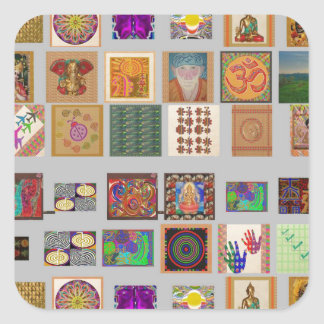 COLLAGE Reiki Ommantra Buddha Ganesh Chokurei etc Square Stickers