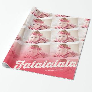 Collage rojo de la foto del navidad de Falalalala Papel De Regalo