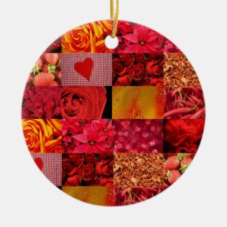 Collage rojo de la fotografía adorno redondo de cerámica