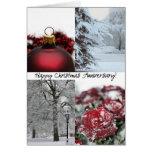 Collage rojo del invierno del aniversario feliz tarjetas