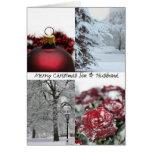 Collage rojo del invierno del navidad del hijo y d tarjeton