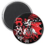 Collage rojo y negro de Batman Imán Redondo 5 Cm