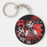 Collage rojo y negro de Batman Llavero Redondo Tipo Pin