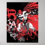 Collage rojo y negro de Batman Póster